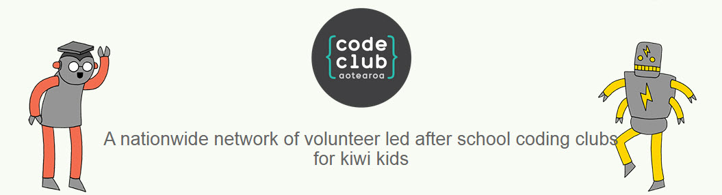 Code Club logo and animation figures